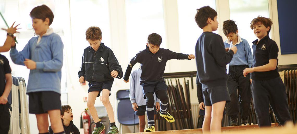 boys prep school pe class